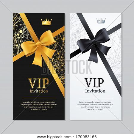 Vip Invitation and Card Vertical Set with Crown and Abstract Patterns . Vector illustration