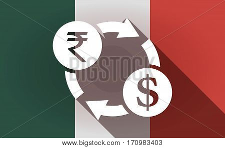 Long Shadow Mexico Flag With  A Rupee And Dollar Exchange Sign