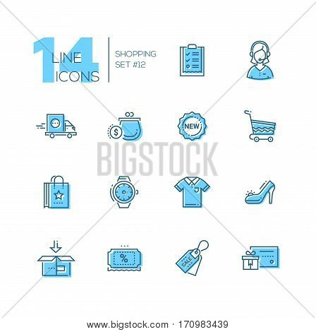 Shopping - modern vector line design icons set with accent color. Check-list, support, delivery, purse, label, cart, bag, watches, shirt shoes box discount sale gift voucher. Material design concept symbols