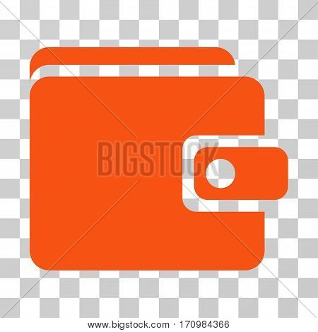 Wallet icon. Vector illustration style is flat iconic symbol orange color transparent background. Designed for web and software interfaces.