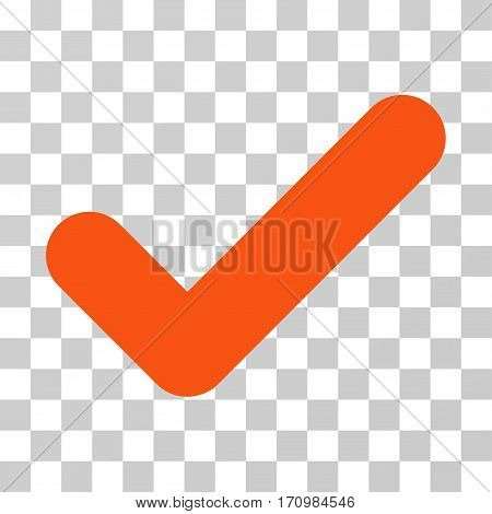 Yes icon. Vector illustration style is flat iconic symbol orange color transparent background. Designed for web and software interfaces.