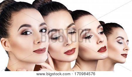 Collage of sensual woman with perfect make-up over white background