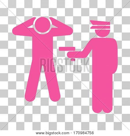 Arrest icon. Vector illustration style is flat iconic symbol pink color transparent background. Designed for web and software interfaces.