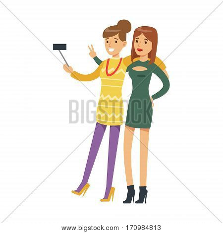 Two Girlfriends On High Heels Taking Selfie With A Stick, Part Of People At The Night Club Series Of Vector Illustrations. Cartoon Character On The Night Out In Dark Music Club Having Good Time.