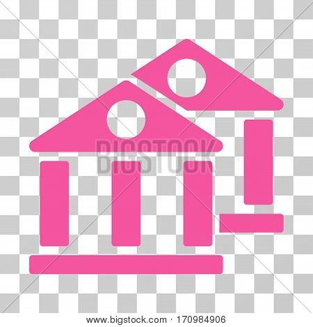 Banks icon. Vector illustration style is flat iconic symbol pink color transparent background. Designed for web and software interfaces.