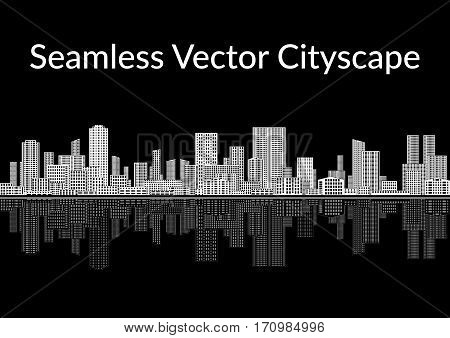 Horizontal Seamless Landscape, Urban Background, Abstract Black and White City with Skyscrapers, Reflecting in the Sea. Vector