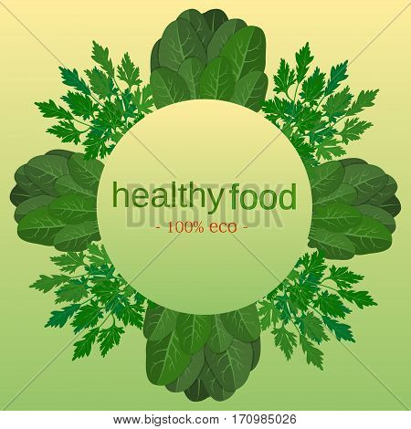 Fresh herbs store emblem - easy to use in your own design. Eco food menu background. Fresh organic food healthy eating vector background with place for text. organic natural realistic vegetable