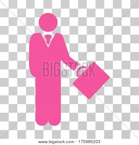 Businessman icon. Vector illustration style is flat iconic symbol pink color transparent background. Designed for web and software interfaces.