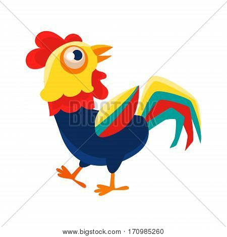 Rooster Cartoon Character Walking Around , Cock Representing Chinese Zodiac Symbol Of New Year 2017. Asian Astrologic Yearly Mascot Animal Vector Flat Illustration.