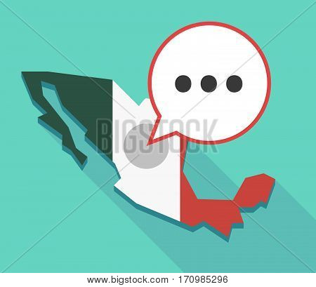 Long Shadow Mexico Map With  An Ellipsis Orthographic Sign