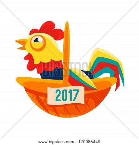 Rooster Cartoon Character Sitting In Wicker Basket, Cock Representing Chinese Zodiac Symbol Of New Year 2017. Asian Astrologic Yearly Mascot Animal Vector Flat Illustration.