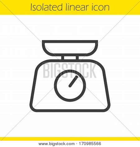 Kitchen food scales linear icon. Thin line illustration. Contour symbol. Vector isolated outline drawing