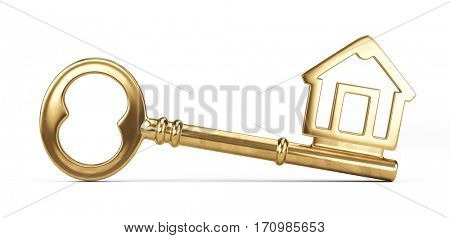 Gold Home Kay isolated on white. 3d illustration