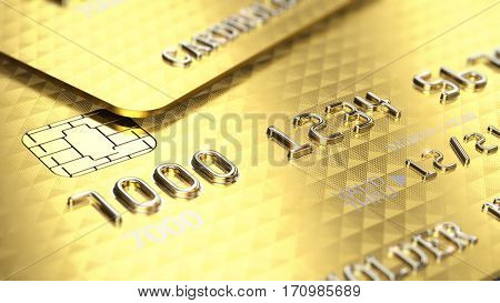 Gold credit cards closeup. 3d render