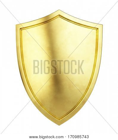 Gold Shield Icon isolated on white background. 3d illustration