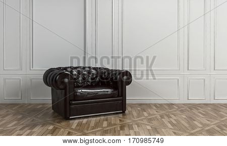 Large black leather armchair with button back in a classical living room interior with white wood paneling on the walls and patterned parquet floor. 3d Rendering.