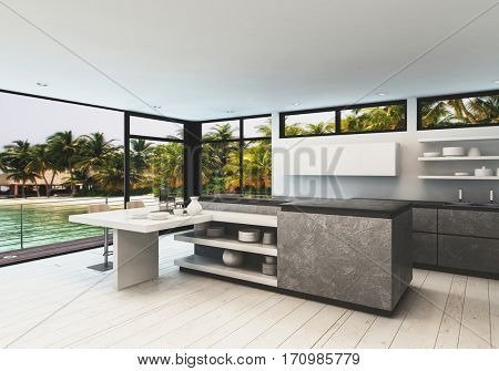 Stylish designer kitchen interior with white hardwood floor and wrap around view windows in a tropical villa overlooking a calm bay and palm trees. 3d Rendering.