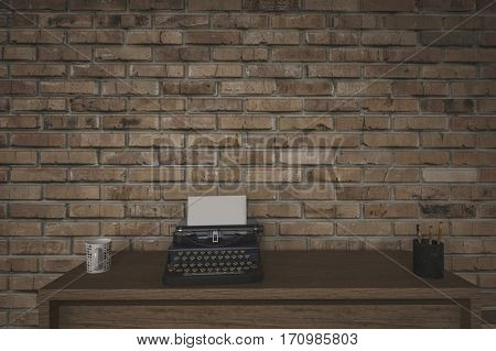 Old manual typewriter on a writing table in front of a face brick wall with a mug of coffee and side vignette. 3d Rendering.