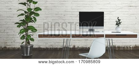 Horizontal view of thin levitating on wire legs office desk with computer and plant, against white bricked wall. 3d Rendering.