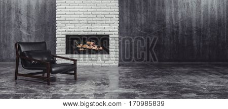 Modern black leather and metal chair in front of a fire insert in a feature brick wall in a large undecorated grey living room with tiled floor, panorama view. 3d Rendering.