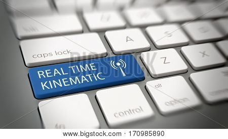 Real time Kinematic button on computer keyboard. 3d Rendering