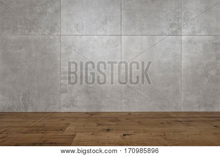 Architectural background of mottled grey tiles on the wall of a room with a hardwood parquet floor, close up view. 3d Rendering.