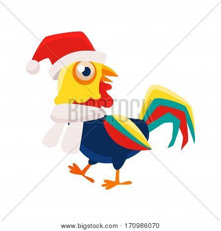 Rooster Cartoon Character Wearing Hat And Scarf , Cock Representing Chinese Zodiac Symbol Of New Year 2017. Asian Astrologic Yearly Mascot Animal Vector Flat Illustration.