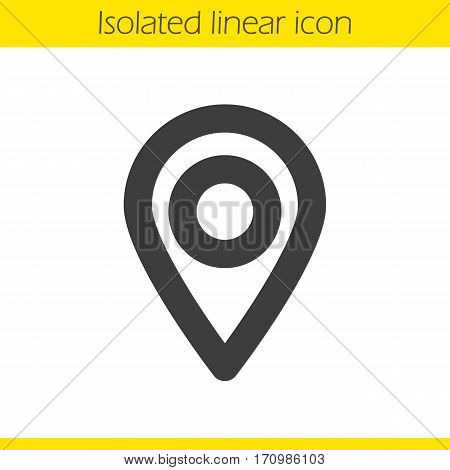Pinpoint linear icon. Thick line illustration. Geo location mark. Location map pointer contour symbol. Vector isolated outline drawing