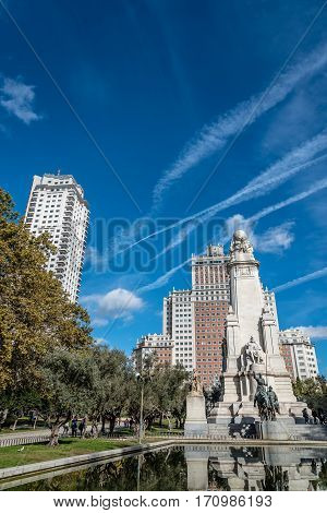 Madrid Spain - November 13 2016: Spain Square in Madrid. It is a large square a popular tourist destination located in central Madrid, Spain