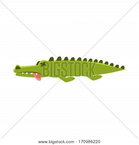 Crocodile Laying Dead And Sick , Cartoon Character And His Everyday Wild Animal Activity Illustration. Green Alligator Reptile Vector Drawing In Childish Cute Manner.