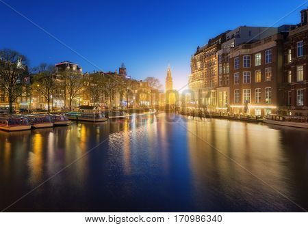 Colorful Cityscape At Sunset In Amsterdam, Netherlands