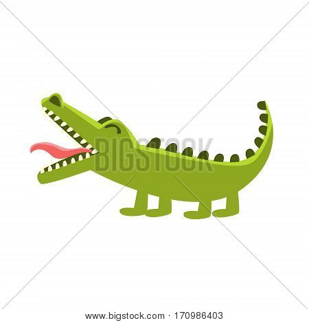 Crocodile Burping, Cartoon Character And His Everyday Wild Animal Activity Illustration. Green Alligator Reptile Vector Drawing In Childish Cute