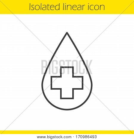 Clean water concept linear icon. Thin line illustration. Medical cross inside liquid drop. Water purification contour symbol. Vector isolated outline drawing