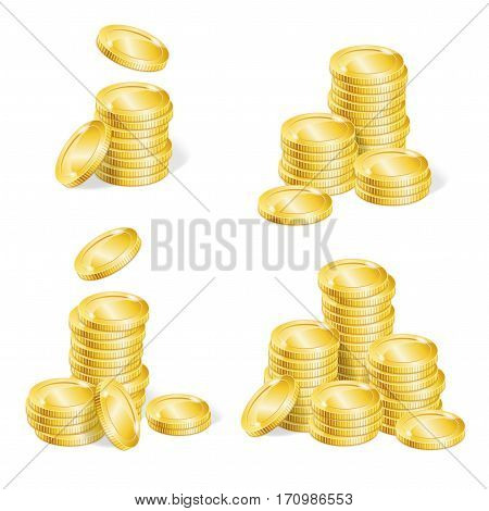 Realistic Golden Coin Stack Set for Your Business Modern Web Design Element. Vector illustration