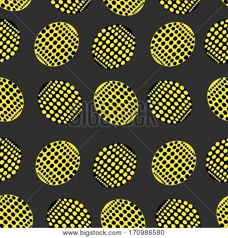 Seamless pattern of ovals point in yellow and black color on a dark background
