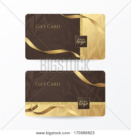 Set of luxury gift cards with golden ribbons and floral patterns on the deep brown background. Vector template for gift vouchers, credit or discount cards. Isolated from the background.