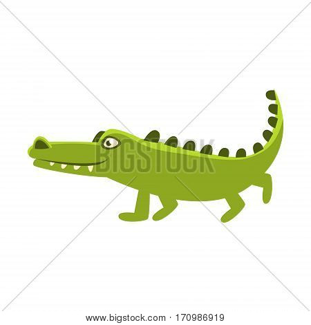 Crocodile Going For A Walk , Cartoon Character And His Everyday Wild Animal Activity Illustration. Green Alligator Reptile Vector Drawing In Childish Cute