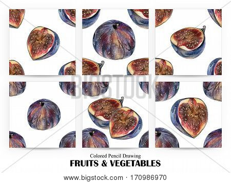 Set of seamless patterns with blue figs drawn by hand with colored pencil. Healthy vegan food. Fresh tasty fruits and berries painted from nature