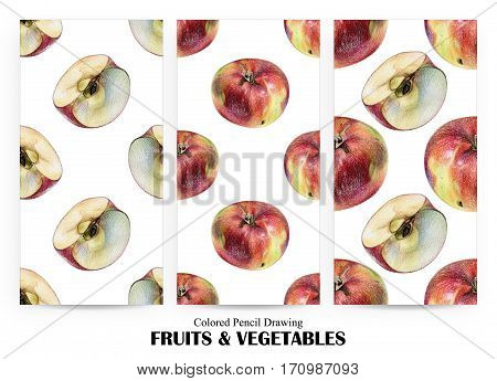 Set of seamless patterns with red apples drawn by hand with colored pencil. Healthy vegan food. Fresh tasty fruits painted from nature