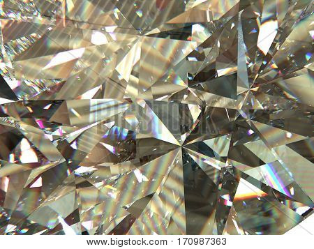 layered texture triangular macro diamond or crystal shapes background with rainbow reflections. 3d rendering model