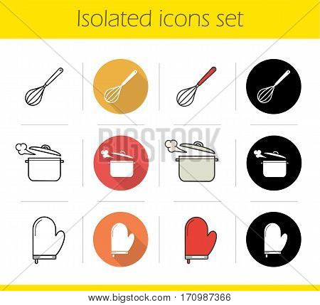 Kitchenware icons set. Flat design, linear, black and color styles. Kitchen instruments. Whisk, boiling saucepan, pot holder. Isolated vector illustrations