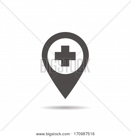 Hospital location icon. Drop shadow silhouette symbol. Medical cross inside pinpoint. Negative space. Vector isolated illustration