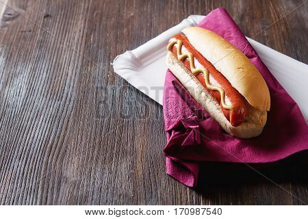 Homemade Barbecue Grill Hotdog With Mustard Yellen. Fast Food Me