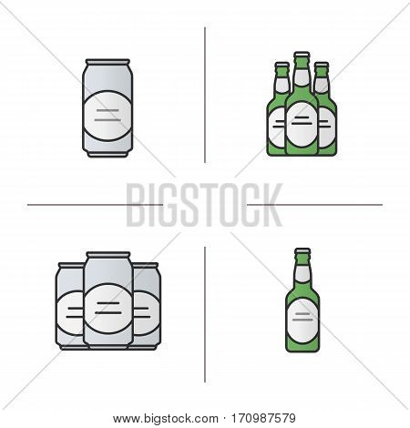Beer color icons set. Beer bottles and cans. Isolated vector illustrations