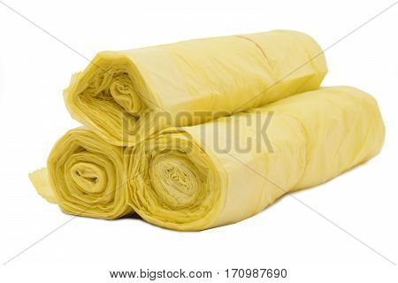 Recycling sacks rolled and isolated on white