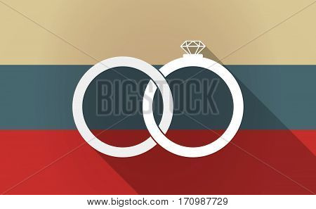 Long Shadow Russia Map With  Two Bonded Wedding Rings