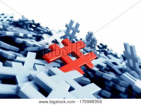 Infinite Red Hashtag On A Plane Original 3D Rendering Image