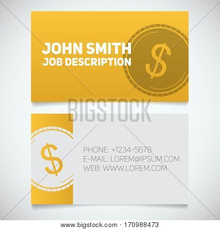 Business card print template with dollar coin logo. Easy edit. Accountant. Financier. Banker. Stationery design concept. Vector illustration