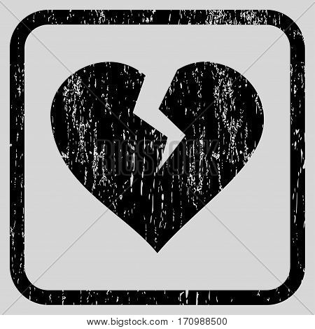 Heart Break rubber watermark. Vector icon symbol inside rounded rectangular frame with grunge design and scratched texture. Stamp seal illustration.