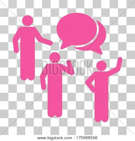 Forum icon. Vector illustration style is flat iconic symbol pink color transparent background. Designed for web and software interfaces.